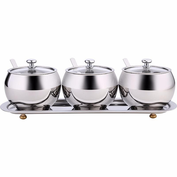 SSGP kitchen seasoning box household set with lid cruet can stainless steel oil and salt cans condiment storage box