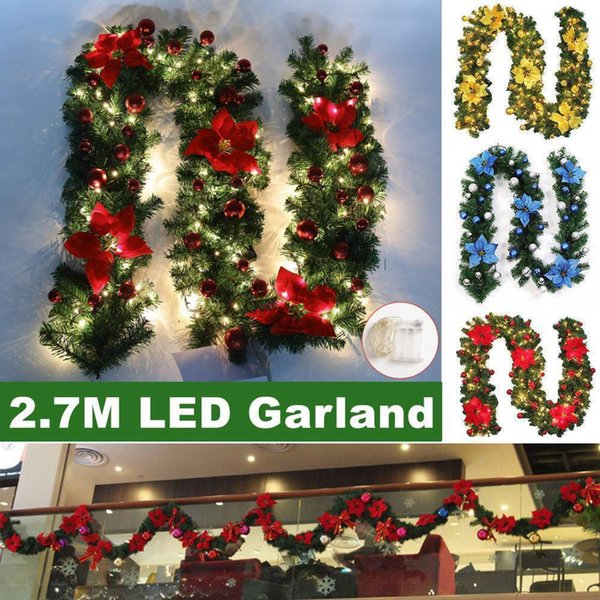 2.7M LED Wreath Christmas Decoration Rattan Garland String Lights Christmas 40 LED Lights Pre-Lit Decorated Garland Fireplace