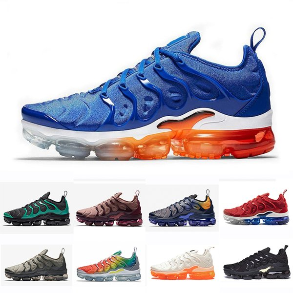 36-45 Air Plus Women Men Running Athletic Shoes Game Royal Fades Blue White Orange Red Shark Tooth Outdoor Trainers Cushion Sports Sneake