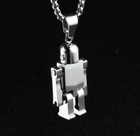 Pendent Necklace Kraft-beads Popular High Quanlity Four Colors Stainless Steel Cute Robot Pendant Link Chain Necklace Charm Jewelry