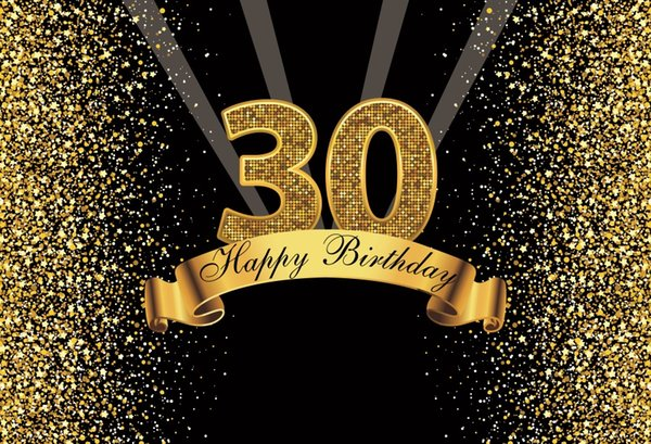 Laeacco Glitters 30th Birthday Party Poster Photography Background Customized Photographic Backdrop For Photo Studio