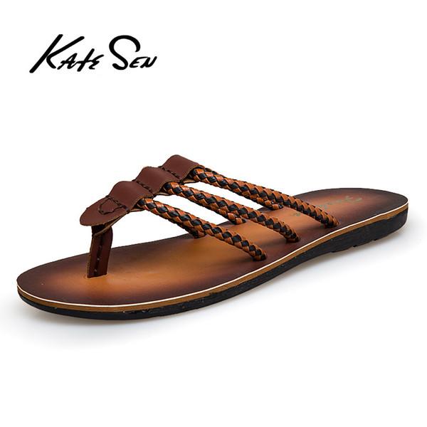 KATESEN Nova Chegada Homens Flip Flops de Verão de Alta Qualidade Sandálias de Praia Não-deslizamento Masculino Chinelos Zapatos Hombre Sapatos Casuais Homens