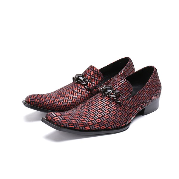 Handmade Classic Braided Genuine Leather Formal Mens Dress Shoes Luxury Red Wedding Shoes Men Elegant Flats Office For Male