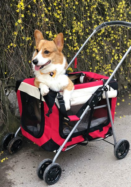 KAWEIDA Foldable pet stroller Rolling Luggage Spinner Cat and dog Suitcase Wheels Carry on folding Trolley pets Travel Bag