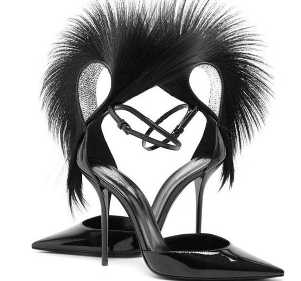 Summer 2019 new stiletto heels pointed toe fashion explosions feather sandals sexy catwalk all match buckle shoes