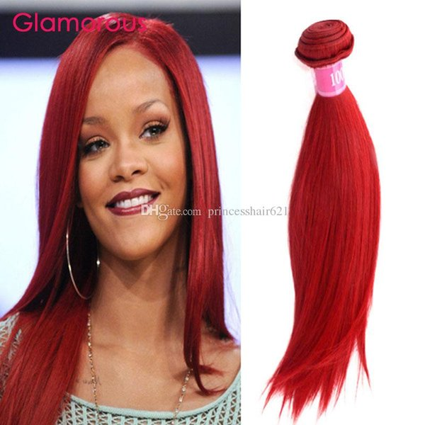 Glamorous Body Wave Red Brazilian Hair Weave Bundles 4Pcs Straight Remy Human Hair Extensions 12-26inch Peruvian Indian Malaysian Hair Wefts