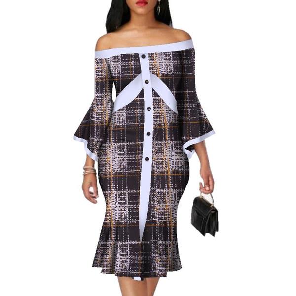 2019 neues Kleid für den Handgelenk-Schnitt nackter afrikanischer Bazin-Baumwolle Midikleid Dashiki-Kleid mit afrikanischem Druck für Damen knielang 5xl WY3067