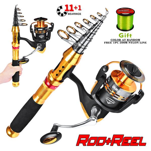 Caña de pescar de tiro largo + 11 + 1 carrete de pesca + línea de peces subgrupo caña de pescar de carbono Rod Reel Combo Kits completos
