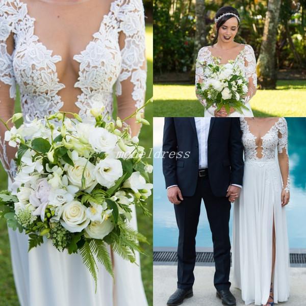 Bohemian Illusion Bodice Wedding Dresses 2019 Long Sleeve Side Split Floor Length Appliques Chiffon Beach Country Bridal Gowns Plus Size