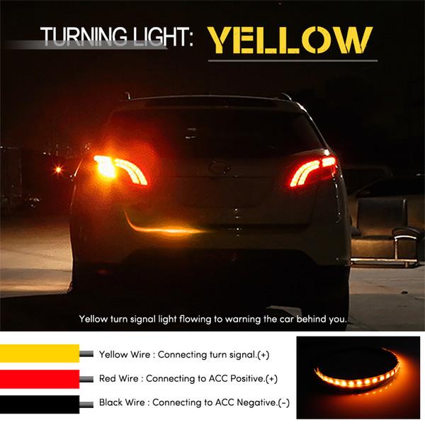 Универсальный гибкий автомобиль хвост светодиодные полосы автомобилей стайлинг желтый сигнал поворота светодиодные полосы света для задней двери газа flash следовать светодиодные