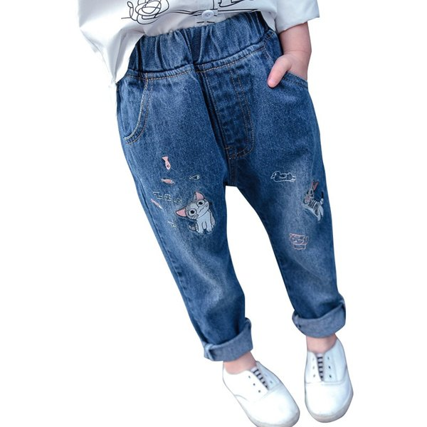 Child Trousers Baby Girls Embroidery Jeans New Kids Fashion Casual Long Pants Jeans 2018 NEW