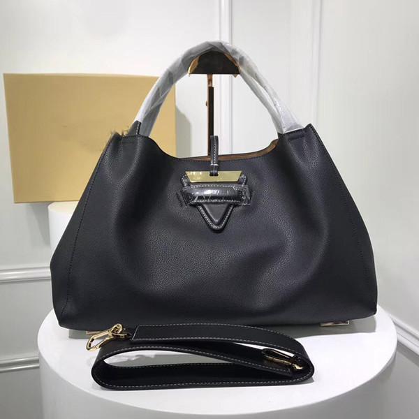 Echtes Leder Frauen Designer Handtaschen Einkaufstasche Lichee Muster hohe Qualität aus echtem Leder Reisetasche große Kapazität 2019 Neue Ankunft