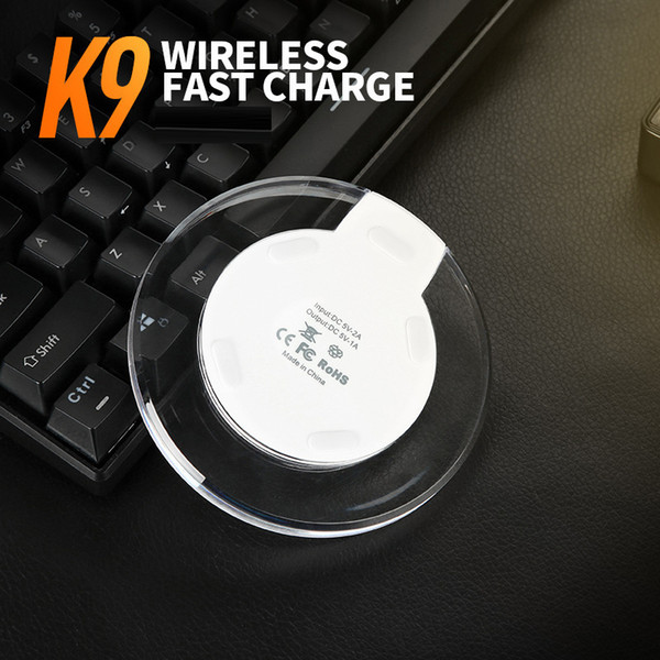 New ultra thin cry tal k9 wirele charger for iphone x am ung galaxy 9 8 google lg htc mobile phone charge wirele charging