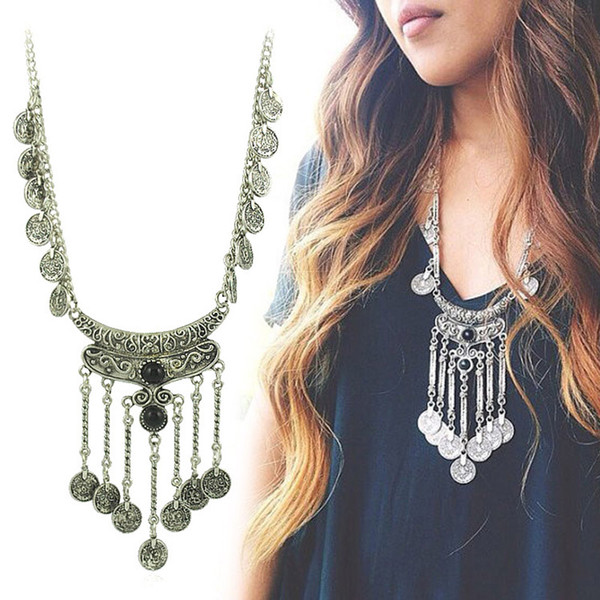 Coin Necklace&pendant Exquisite Exaggerated Long Vintage Silver Plated Indian Bohemian Turquoise Statement Necklace Collares Tassel Necklace
