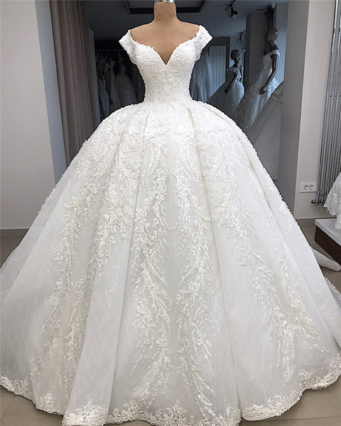 Delicate 3D Appliques Lace Ball Gown Wedding Dresses Real Image 2019 Cap Sleeves Beaded Long Bride Formal Wedding Gowns Luxury