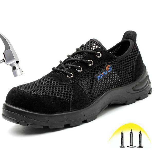 Summer Breathable Safety Shoes for Men Steel Toe Anti-smashing Anti-slip Mesh Sandals Wear-resistant Work Shoes Male Boots