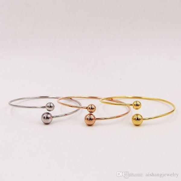 PB64 nuova moda grandi e piccole sfere in acciaio bellissimo braccialetto placcato oro per regalo spedizione gratuita