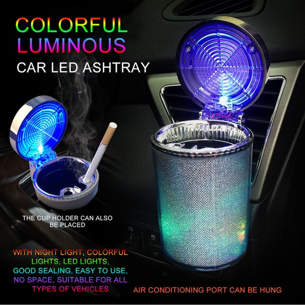 New Car Ashtray Holder with Led Light Portable Car Air Vent Smoking Cup Ashtray Color Changing Cover