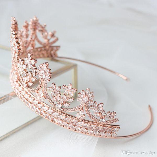 Gelinler Gelin Taçlar Düğün Tiaras Rose Gold Düğün Saç Takı Zirkon Crystals Tiara için Şık Tiaras