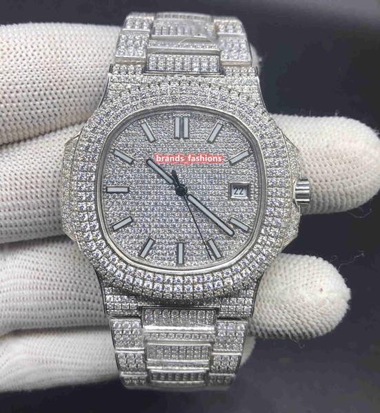 Montres de haute qualité Ice Diamond Watch Silver Shell en acier inoxydable Watch Diamond Face Watch montre mécanique automatique