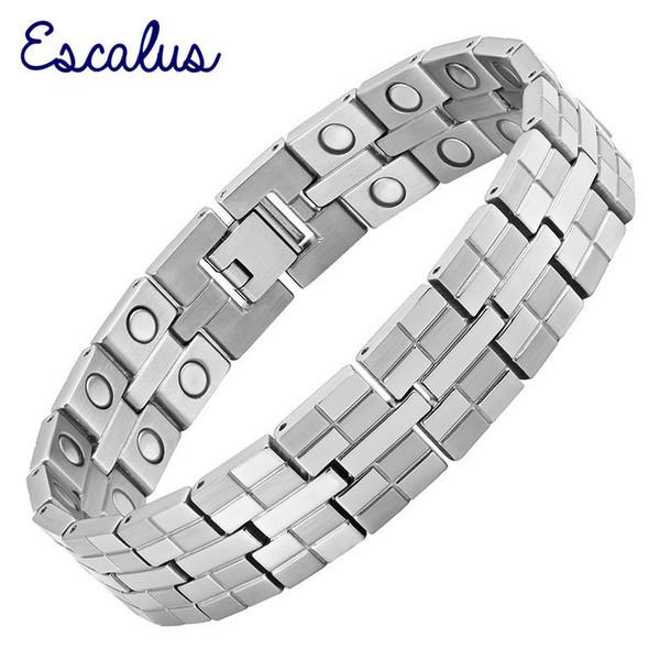 Escalus High Power Magnetic Pure Titanium Bracelet For Men Jewelry 34pcs Magnets Healing Charm Bracelets Wristband Y19051101
