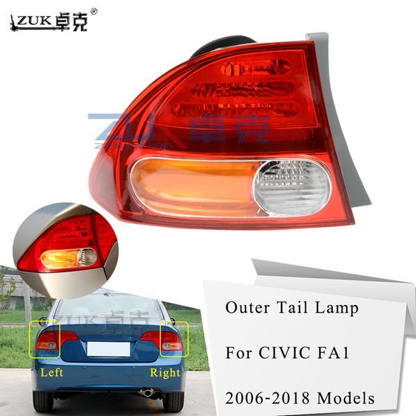top popular ZUK Left Right Outer Tail Light Tail Lamp Rear Light Brake Lamp For HONDA CIVIC 2006 2007 2008 2009 2010 2011 FD1 FD2 CIIMO 2012 2021