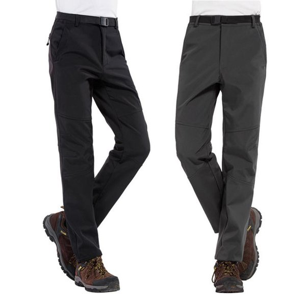 Men Casual Windproof Waterproof Loose Long Pants Outdoor Trousers Zipper Pockets Natural Solid Windproof,