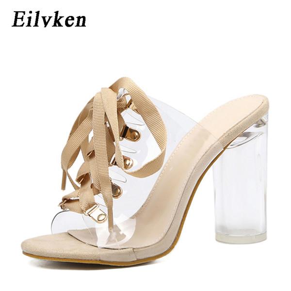 Eilyken 2019 Yeni Seksi Pvc Şeffaf Gladyatör Sandalet Peep Toe Dantel-up Ayakkabı Temizle Tıknaz Topuklar Sandalet Terlik Kadın Y190704