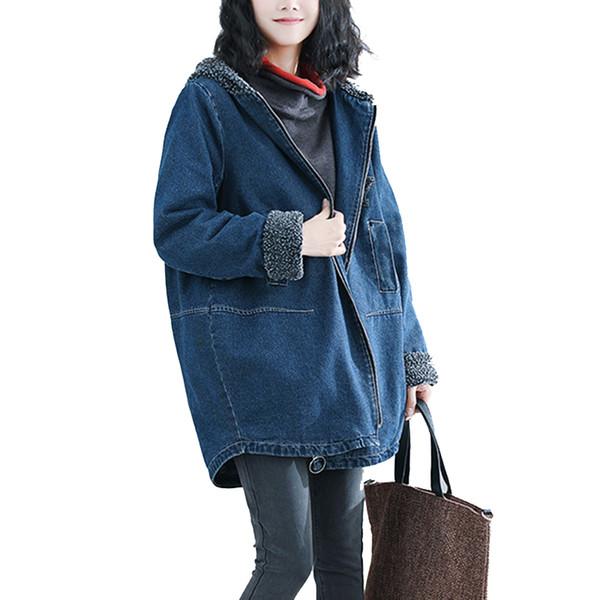 laine d'hiver de laine d'agneau veste manteau, plus la taille à capuche longue Parka hiver à manches longues jeans veste vêtements pour femmes vêtements de plein air