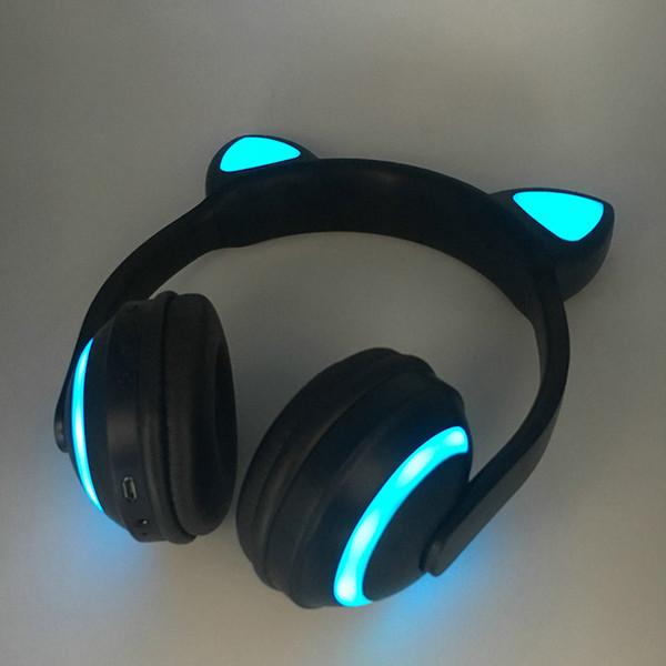 Auriculares estéreo Bluetooth con oreja de gato Parpadeante Auriculares con oreja de gato brillantes Auriculares para juegos Auriculares 7 colores con luz LED