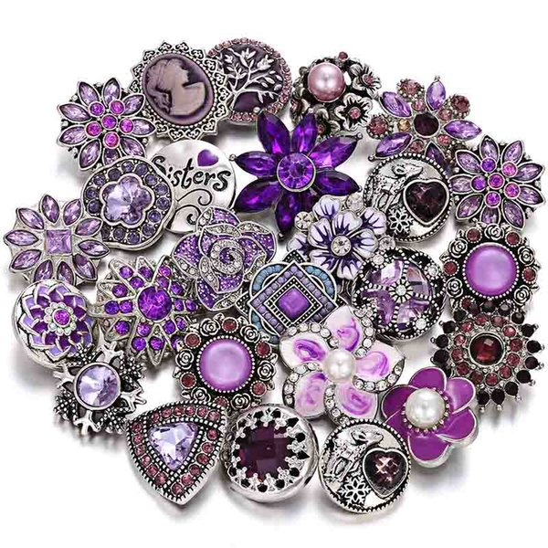 Flower Rhinestone Rudder Snaps Buttons Charms Fit 18mm Snap Jewelry