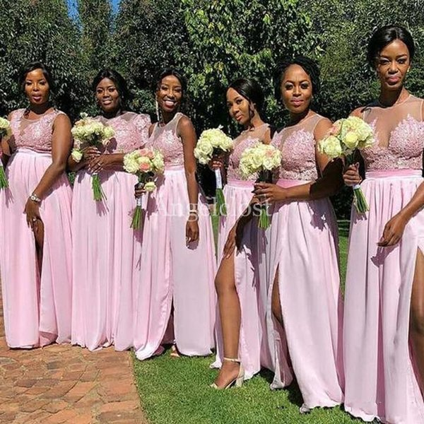 Arabic Pink Split Bridesmaid Dresses 2019 Sheer Neck Sweep Train Lace Appliques Beaded Wedding Guest Dresses Vestido De Dama De Honor Custom