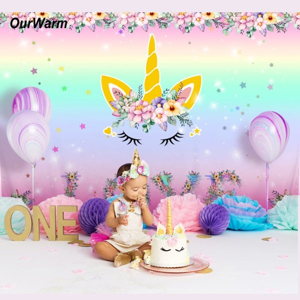 Party Backdrops OurWarm 7*5ft Pink Photo Backdrop Children Unicorn Birthday Baby Newborn Photography Backgrounds Unicorn Party Supplies