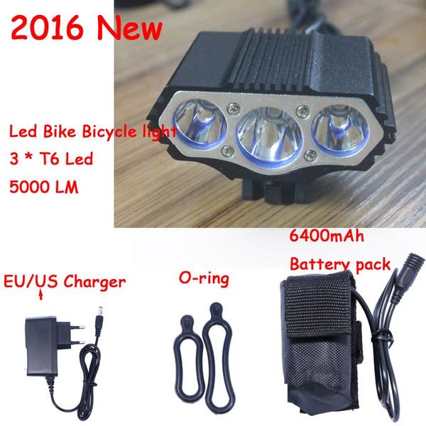 Nouveau 5000 Lumens 3 x XM-LT6 LED Vélo Vélo Tête De Lumière Avant Feux Flashlight Lampe + 18650 Batterie + Chargeur # 347967