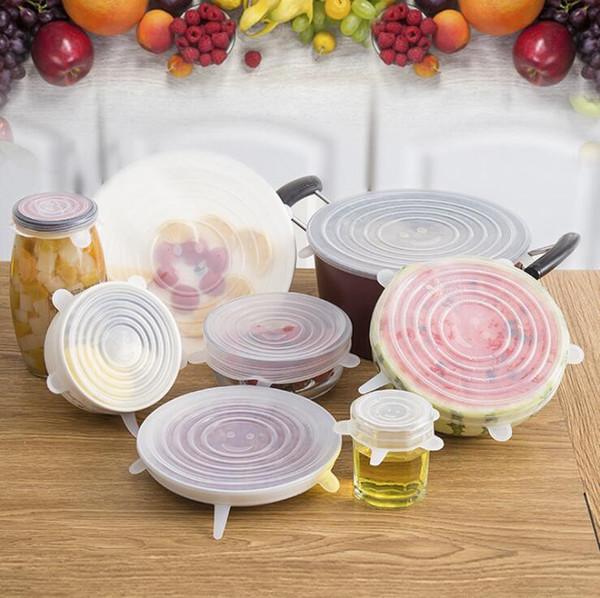 6 Unids / set Silicona Stretch Tapas Olla de Succión 4 Color de Calidad Alimentaria Fresca Mantener Envoltura Sellado Cubierta de la tapa Cubre utensilios de cocina Accesorios útiles