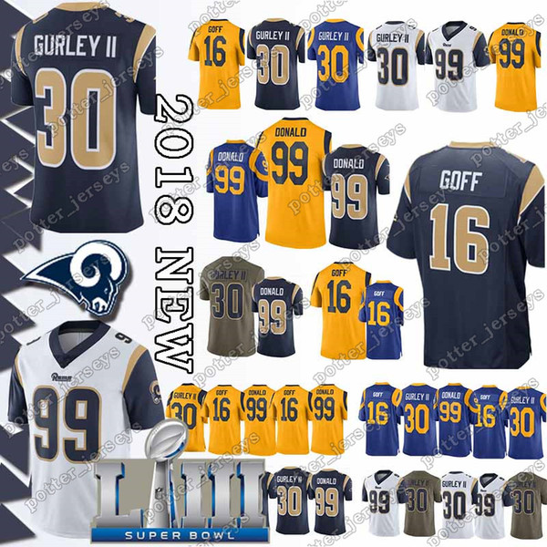 promo code bc526 4130b 2019 Cheap Sales 30 Todd Gurley Jersey Los Angeles Rams 16 Jared Goff 90  Aaron Donald 99 Aaron Donald Jerseys Christmas Promotion From Ron_jerseys,  ...