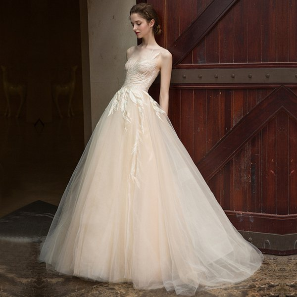 Lace Beaded 2019 African Beach Wedding Dresses Sheer Neck A-line Tulle Bridal Dresses Vintage Sexy Cheap Wedding Gowns