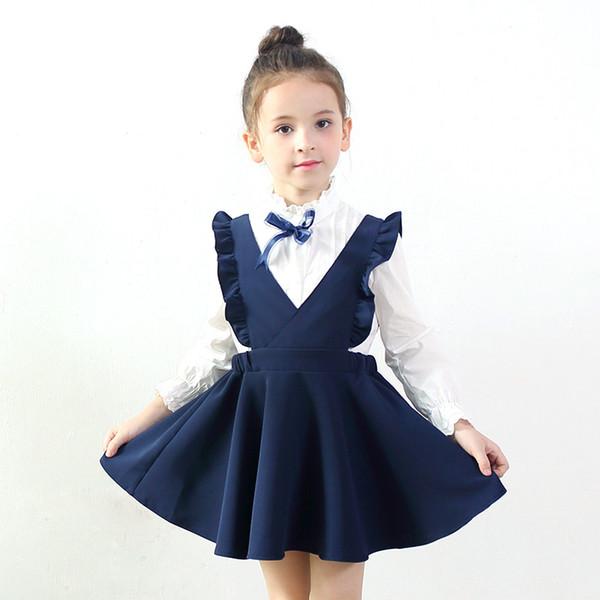 Frühling Herbst Mädchen Kleidung 2017 Mode Weste Mädchen Kleid Baby Mädchen Schule Prinzessin Kleid Vestido 3-11 Jahre Kinder Kostüm Dq531MX190822
