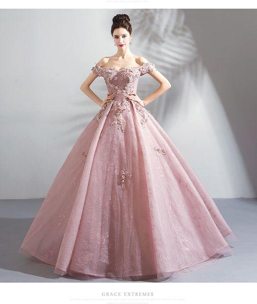 Acheter 2019 Nouvelle Robe De Bal En Dentelle Coloree Rose Rougissante Robe De Mariee Hors De L Epaule Etage Longueur Lacets Dos Moderne Robe De
