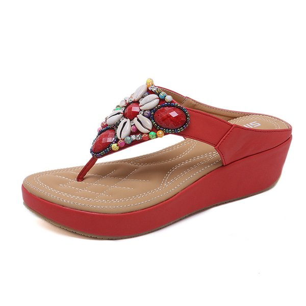 new High quality sandals sweet diamond women's slippers sandals wedge shoes
