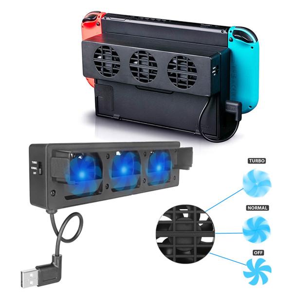 3 Ventiladores de Refrigeração USB externos para Nintend Switch Docking Fans com Controle de Velocidade Ajustável para NS Original Dock