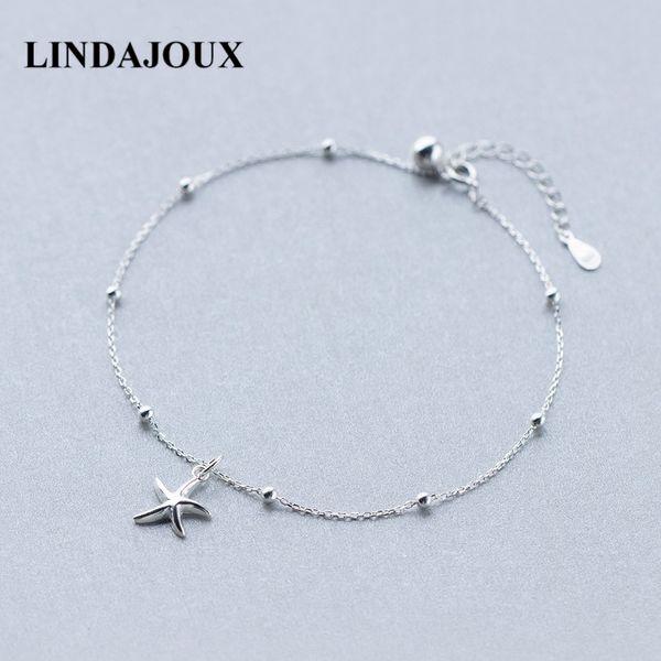 Lindajoux 925 Sterling Silver Fashion Sea Star Charm Anklet For Women S925 Ankle Bracelet Adjustable Length C19041101