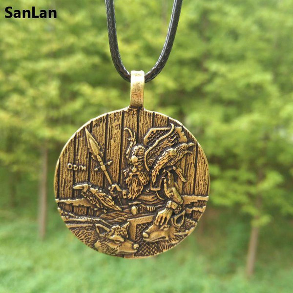 whole saleOdin necklace Amulet in the style of the Odin Viking Serieswolf raven viking jewelry SanLan