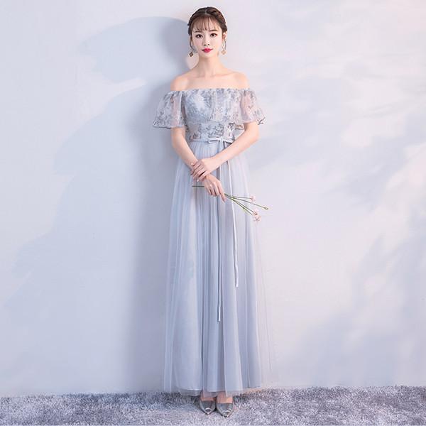 Langes graues Kleid Hochzeit Kleid Brautjungfer Kleid Stickerei bodenlangen Rückseite