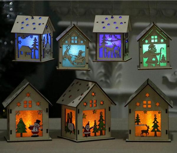 LED Light Wood House Christmas Tree Hanging Ornaments Holiday Nice Xmas Gift Wedding Decoration Santa Cluas Elk Pattern
