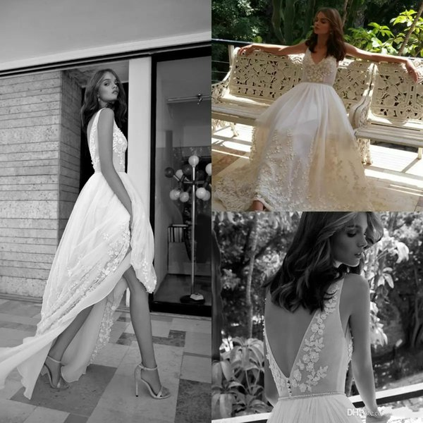 Lihi Hod Vintage Country Wedding Dresses Sexy V neck Flower With Beaded Elegant Low Backless Pearls Sash Beach Bridal Gowns Rose Petal Style