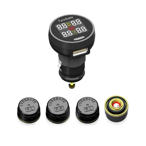 Freeshipping TyreSafe TP200 AUTO TPMS mit USB-Buchse Stützstange PSI Bestes preiswertes Reifendruck- und Temperaturüberwachungssystem
