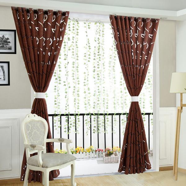 Ready made semi-blackout curtains blind panel fabrics for window purple curtains living room window treatment purple black white