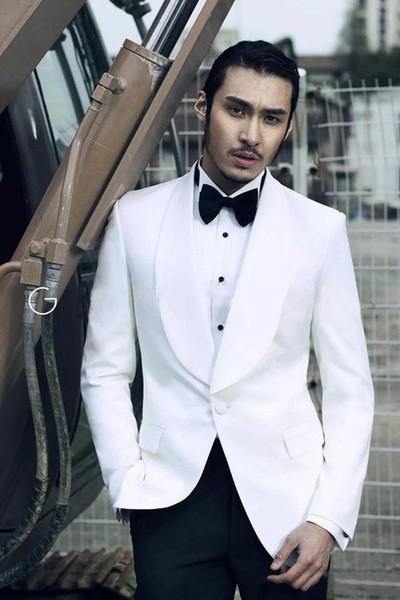Classic Designe White Men Wedding Dress Excellent Groom Tuxedos Hot Sale Jacket Blazer Men Business Dinner/Prom Suit(Jacket+Pants+Tie) 522