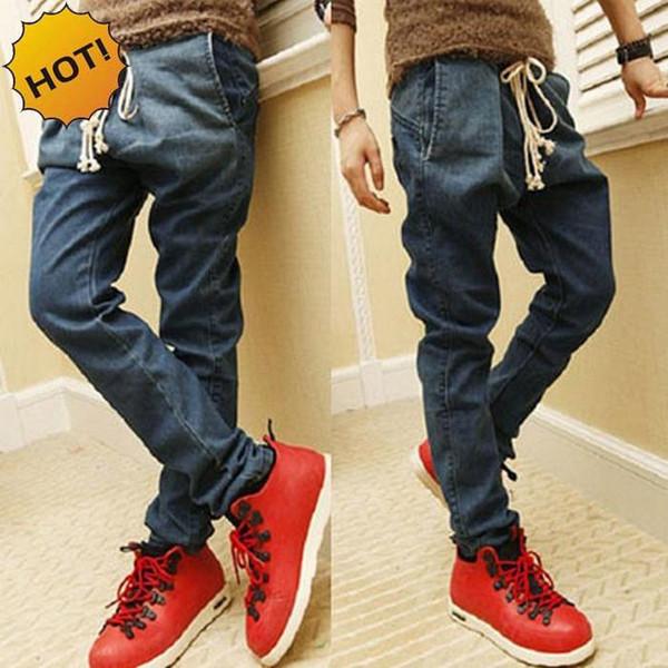 Wholesale-New HOT Large Crotch Drawstring Slim Fit Mens Leg Pants Teenagers Hip Hop Overalls Cargo Light Blue Harem Pants 28-34 Bottoms
